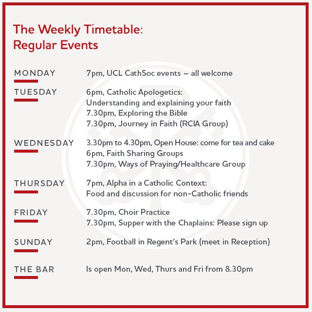 Weekly Timetable  Catholic Chaplaincy To The Universities And Other