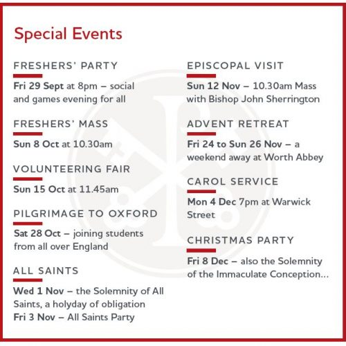 First Semester Special Events